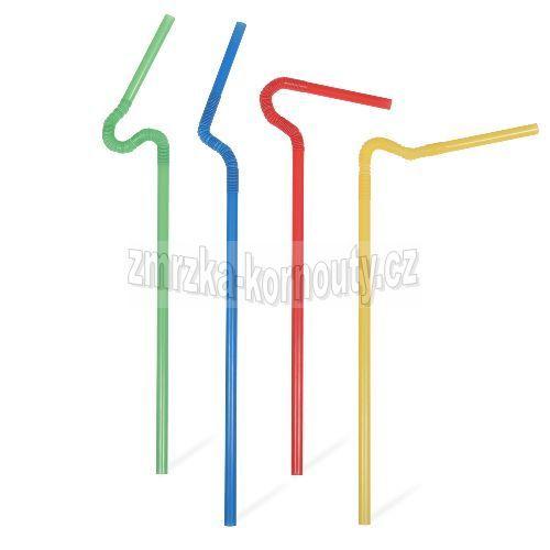 Slámky SUPERFLEXIBILNÍ barevný mix, průměr 6 mm, délka 27-33 cm