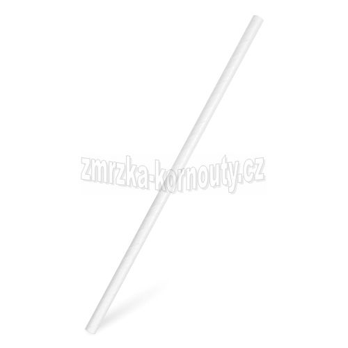 Slámky papírové JUMBO bílé, průměr 8 mm, délka 25 cm, balení 100 kusů.