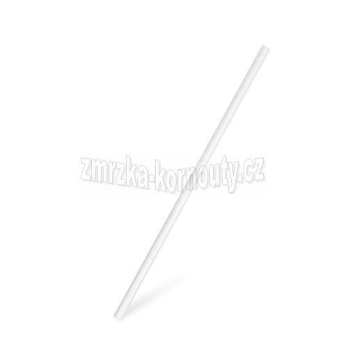 Slámky papírové rovné bílé, průměr 6 mm, délka 20 cm, balení 100 kusů.