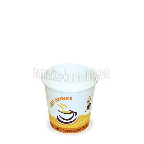 """Papírové kelímky """"HOT DRINKS"""", Espresso, 110 ml, průměr 62 mm, balení 50 ks."""