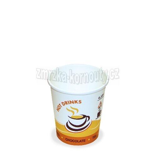 """Papírové kelímky """"HOT DRINKS"""", 200 ml, průměr 73 mm, balení 100 ks."""