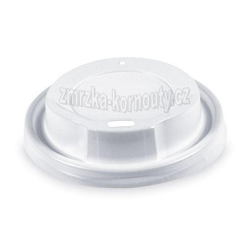 Víčko vypouklé bílé, PS, průměr 80 mm, balení 100 ks.